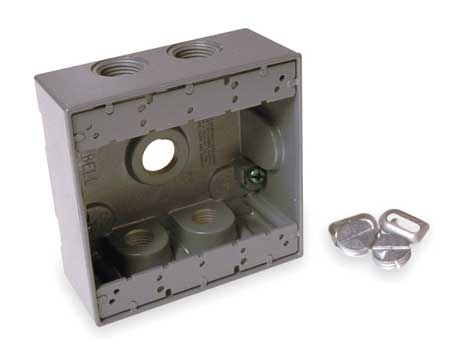 Weatherproof Box, 2Gang, 5Inlet, Alum