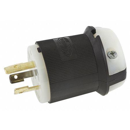 20A Locking Plug 2P 3W 125VAC L5-20P BK/WT