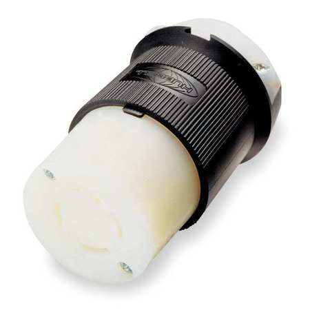 30A Locking Connector 3P 3W 125/250VAC BK/WT