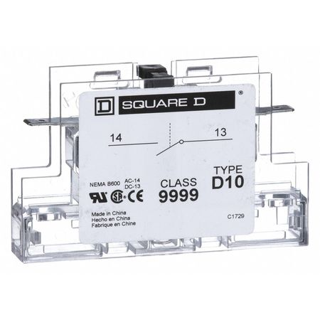 SQUARE D 9999D10 Auxiliary Contact,1 NO