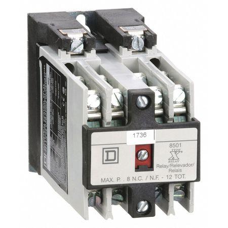 NEMA Control Relay, 8NO, 120VAC, 10A