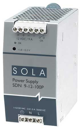 DC Power Supply, 12VDC, 9A, 60Hz