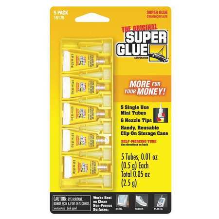 Instant Adhesive, 0.5g Tube, Clear, PK5