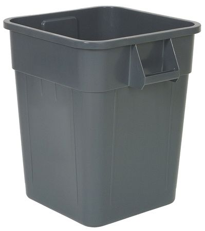 28 gal.  Square  Gray  Trash Can
