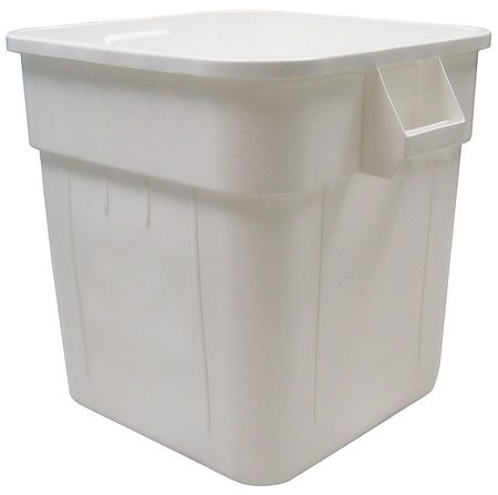 32 gal.  Square  White  Trash Can