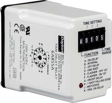 Time Delay Relay, 240VAC, 10A, DPDT