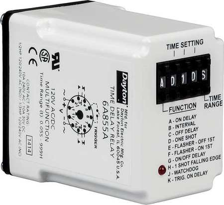 Time Delay Relay, 12VDC, 10A, DPDT