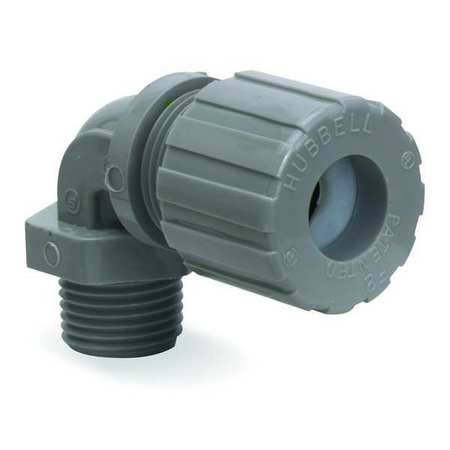 Liquid Tight Connector, 1/2in, 90 deg, Gray