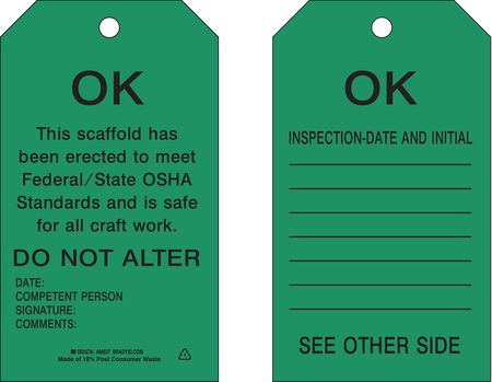 Scaffold OK Tag, 7 x 4 In, Bk/Grn, PK10