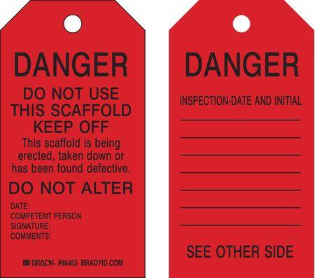 Danger Tag, 5-3/4 x 3 In, Bk/R, Met, PK100
