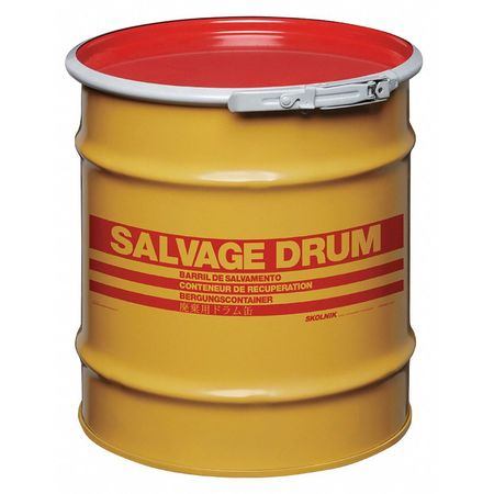 Salvage Drum, Open Head, 10 gal., Yellow