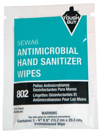 """Antimicrobial Hand Sanitizing Wipes,  6 x 8"""",  100 Wipes"""