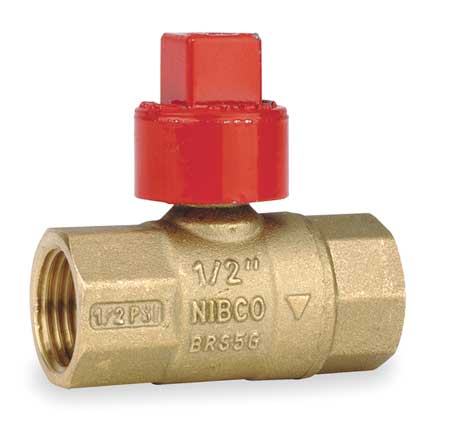 "1/2"" FNPT Brass Gas Ball Valve Inline"