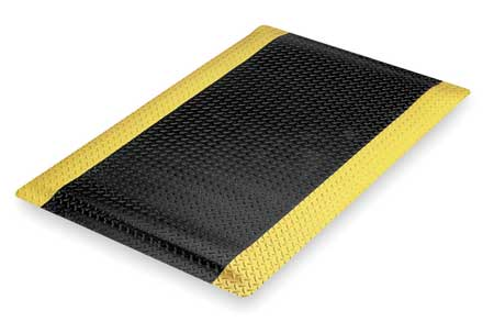 Antifatigue Mat, Black, YllwBrdr, 3ft.x5ft.