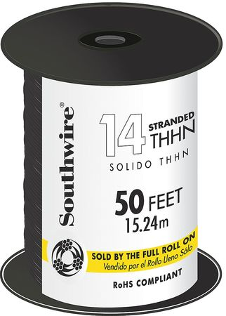 Building Wire, THHN, 14 AWG, Black, 50ft