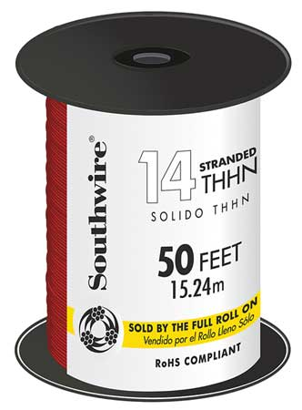 Building Wire, THHN, 14 AWG, Red, 50ft