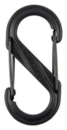 Carabiner Clip, 2 In., Plastic, Black