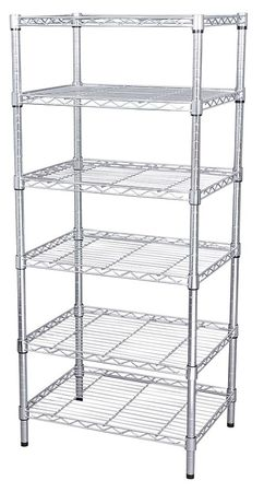 Wire Shelving, H74, W48, D18, Zinc, 6 Shelf