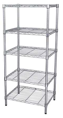 Wire Shelving, H63W48, D18, Chrome, 5 Shelf