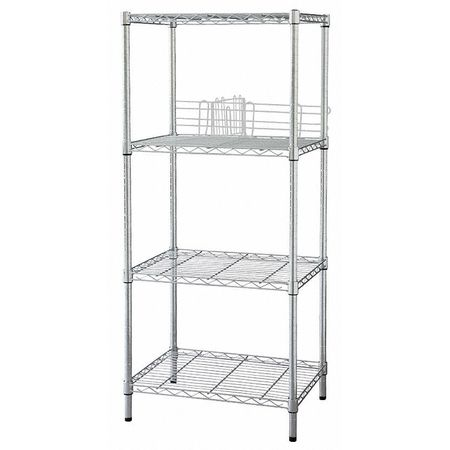 Wire Shelving, H63, W48, D18, Chrome, 4 Shelf