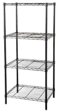 Wire Shelving, H74, W48, D18, Black, 4 Shelf