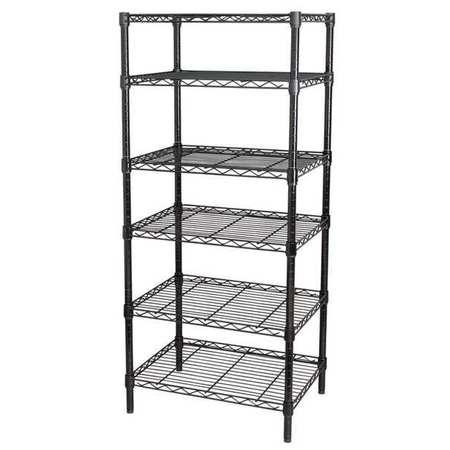 Wire Shelving, H63, W48, D18, Black, 6 Shelf