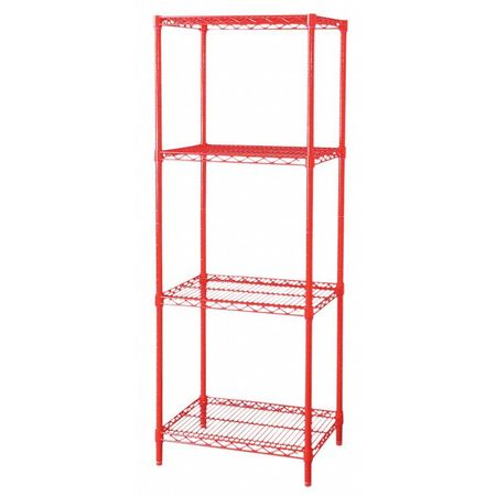 Shelving, Starter, H74, W72, D24, Red, 4 Shelf