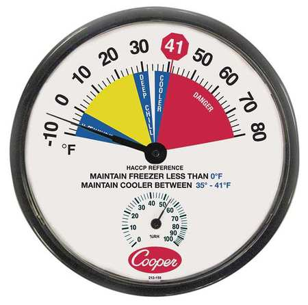 Freezer and Cooler Analog Hygrometer