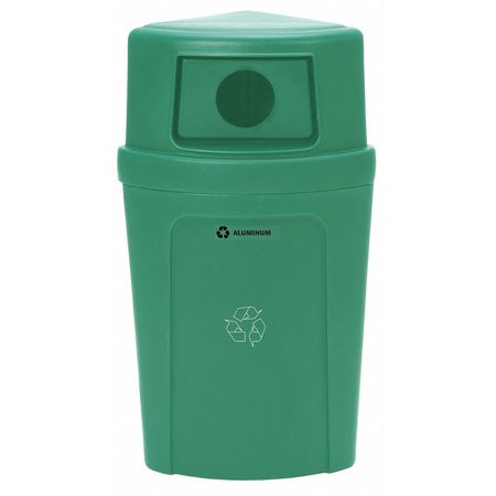 21 gal. Recycling Container Semi-Round,  Green Plastic