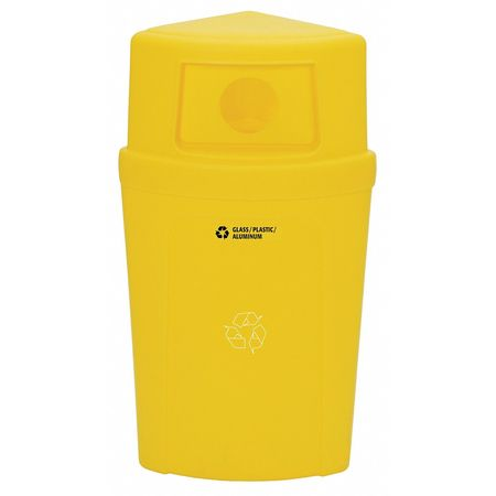 Recycling Container, Yellow, 21 gal.