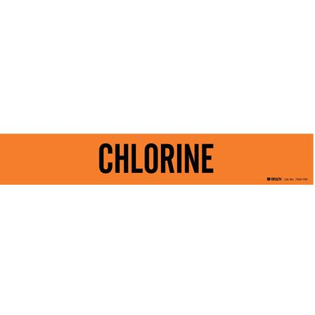 Pipe Marker, Chlorine, Ong, 8 In or Greater