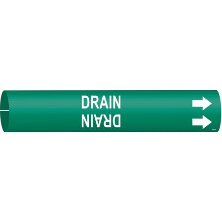 Pipe Marker, Drain, Grn, 1-1/2 to 2-3/8 In