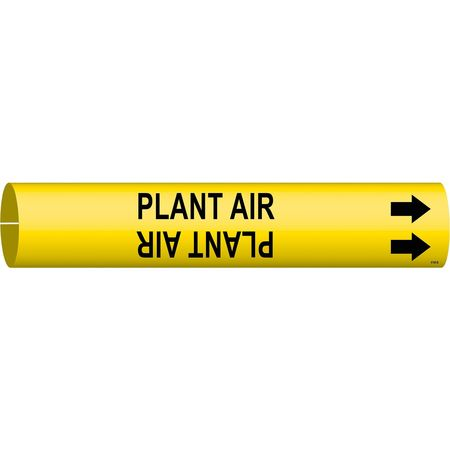 Pipe Marker, Plant Air, Y, 1-1/2 to2-3/8 In