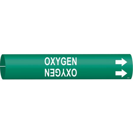 Pipe Marker, Oxygen, Green, 3/4 to 1-3/8 In
