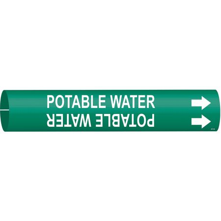 Pipe Mrkr, Potable Water, 1-1/2to2-3/8 In