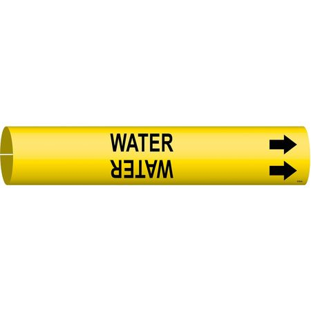 Pipe Marker, Water, Yellow, 3/4 to 1-3/8 In