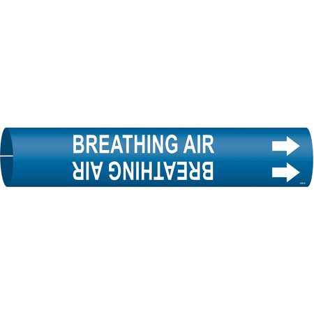 Pipe Marker, Breathing Air, Blue, 4 to 6 In