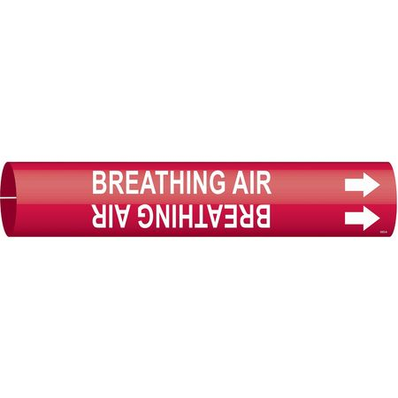 Pipe Marker, Breathing Air, Red, 4 to 6 In