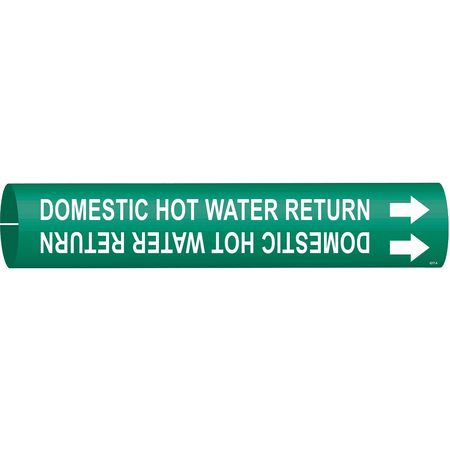 Pipe Marker, Domestic Hot Water Return, Gn