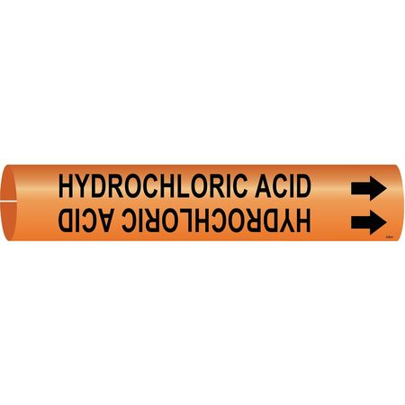 Pipe Marker, Hydrochloric Acid, Og, 4to6 In
