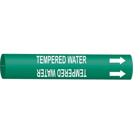Pipe Marker, TempeR Water, Gn, 6 to7-7/8 In