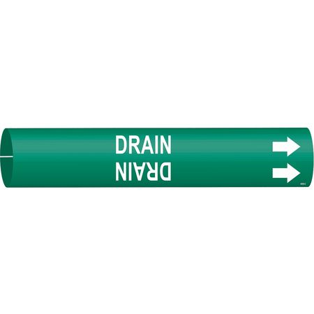 Pipe Marker, Drain, Grn, 2-1/2 to 3-7/8 In