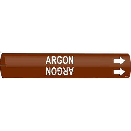 Pipe Marker, Argon, Brown, 2-1/2 to3-7/8 In