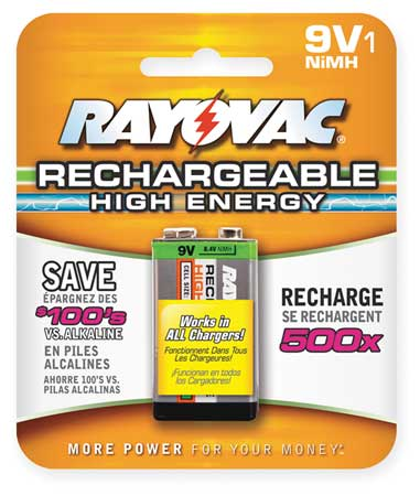Precharged Recharg. Battery, 9V, NiMh