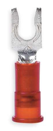 Fork Terminal, Lockng, #6 Stud, Red, PK100