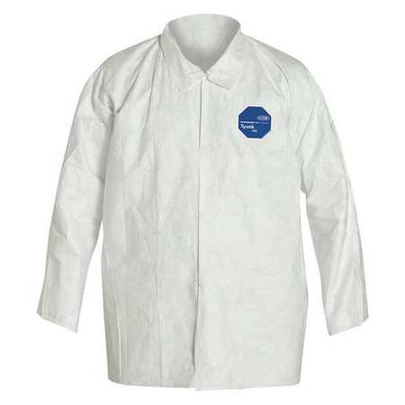 Disposable Collared Shirt, White, XL, PK12