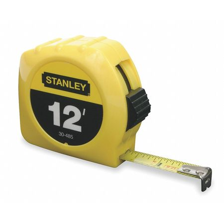 Tape Measure, 1/2 In x 12 ft, Yellow, In/Ft