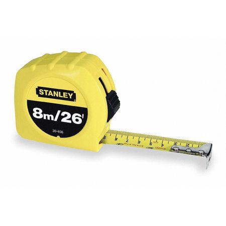 Tape Measure, 1 In x 26 ft, Yellow, In./Ft.