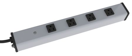 Outlet Strip, 15A, 4 Outlets, Gray