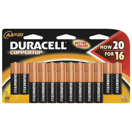 Duracell CopperTop Alkaline AA Batteries,  20 Pack